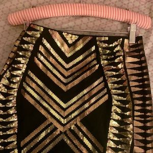 NWOT Express Black and Gold Sparkly Mini Skirt